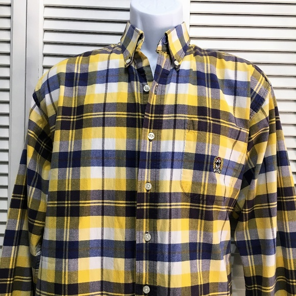 7af16aa92a Cinch Other - Cinch Mens plaid button up shirt yellow navy Med